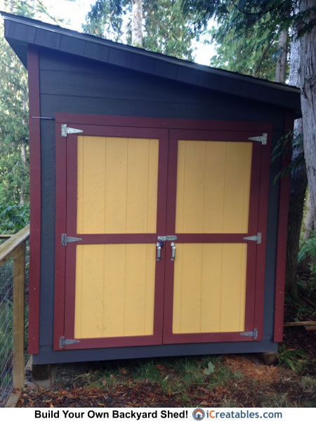 8x8 lean to shed painted doors
