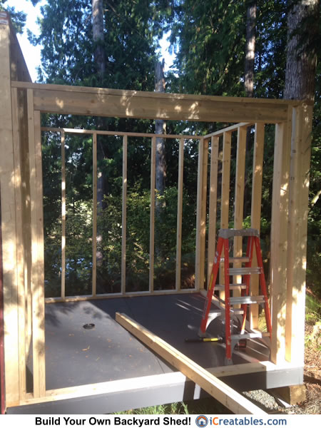 Lean to shed wall framing