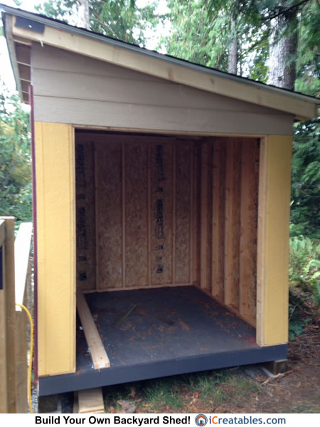 8x8 lean to shed door opening.