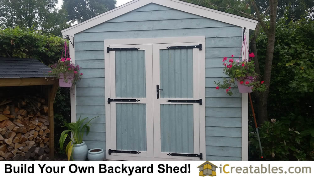 2400x3000 Backyard garden storage shed with home built doors, lap siding and beautiful door hinges.