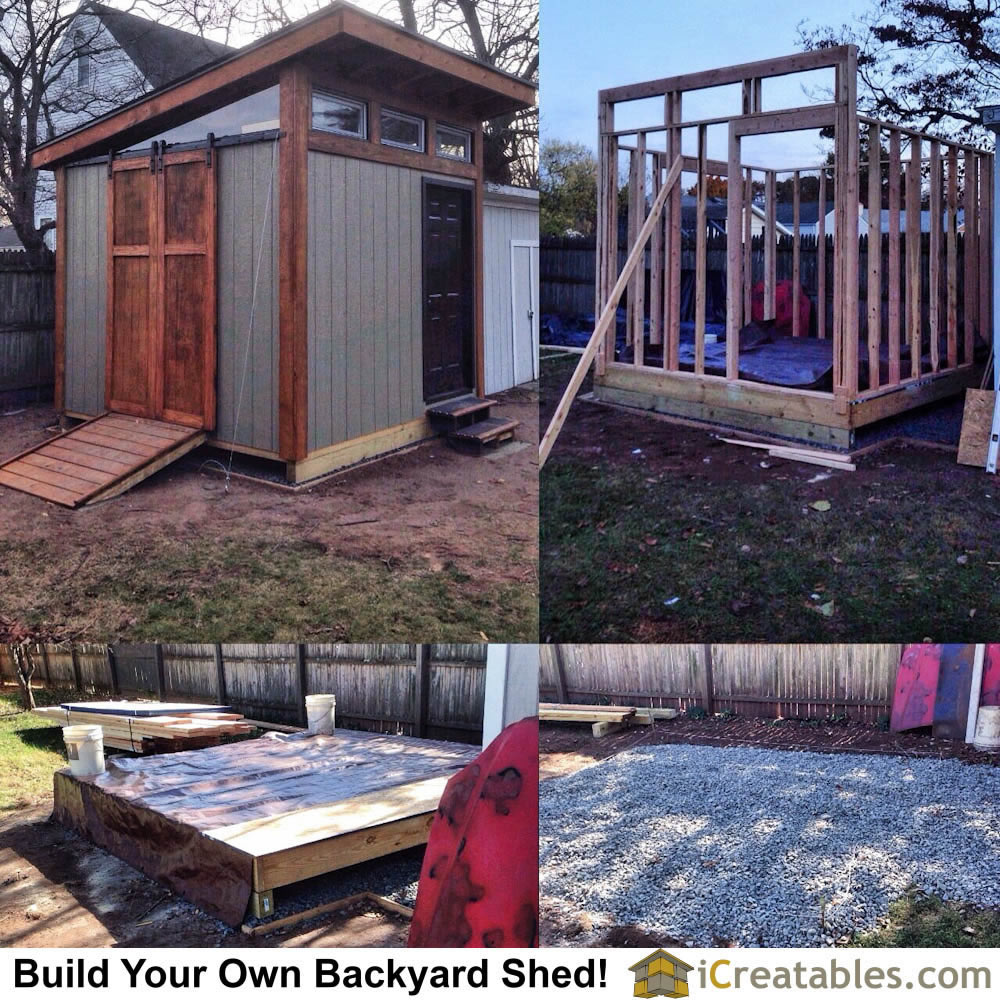 Building a 10x10 backyard shed. Modern design with barn door hardware.
