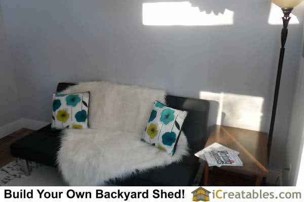 Sitting area couch in modern shed