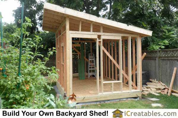 10x12 Modern Shed roof framing installed