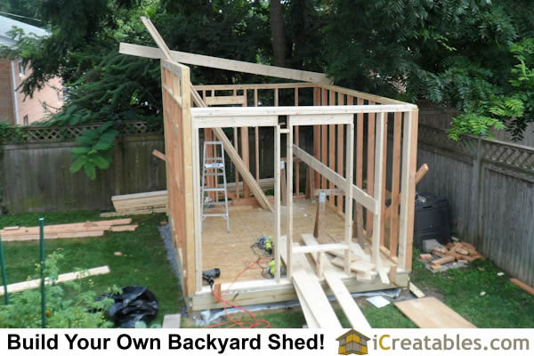 Cut and install roof rafters for modern studio shed