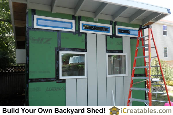 Installing cement board and batten siding on modern shed
