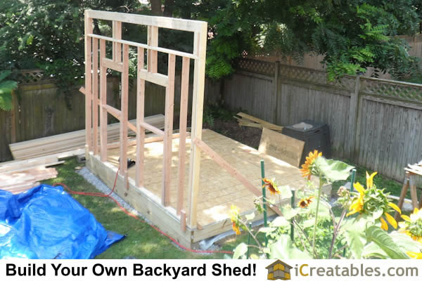 Standing framed wall framing for storage shed