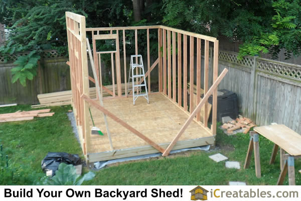 Wall framing for backyard garden modern shed plans