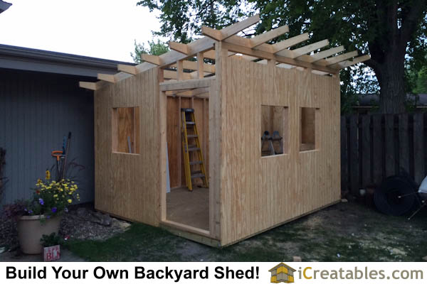 10x12 modern shed roof framing