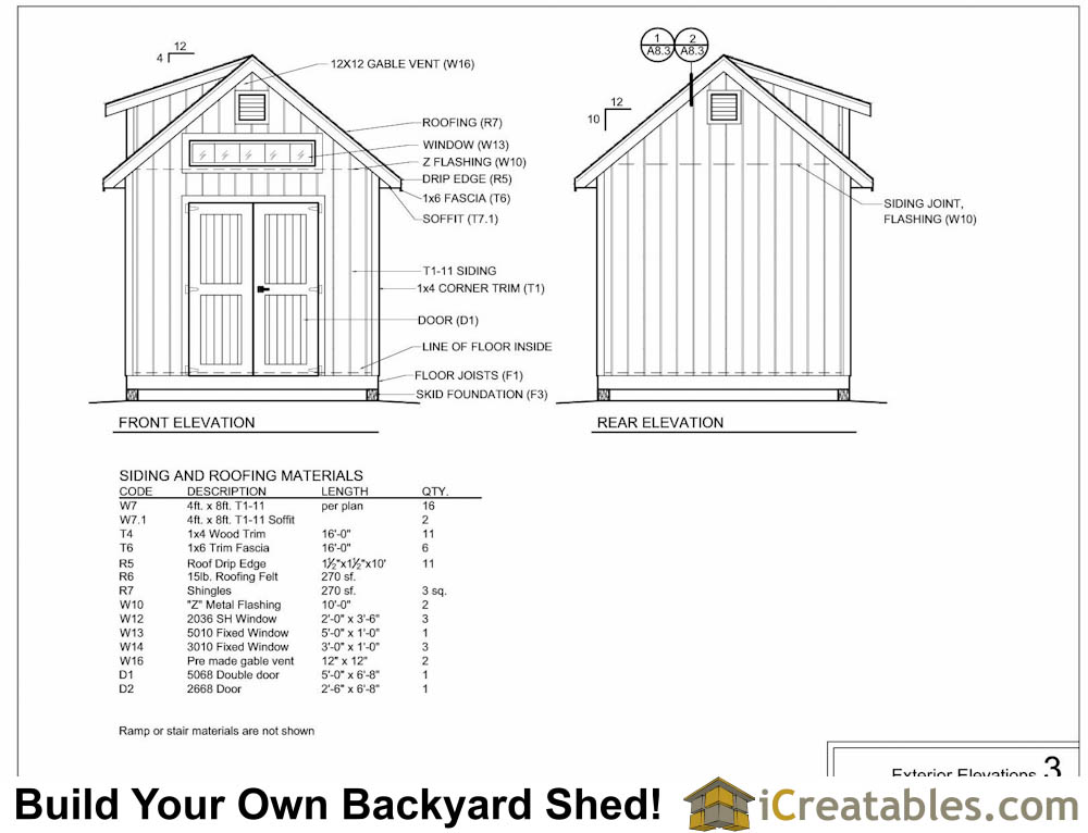 10x16 shed with dormer exterior elevations plans