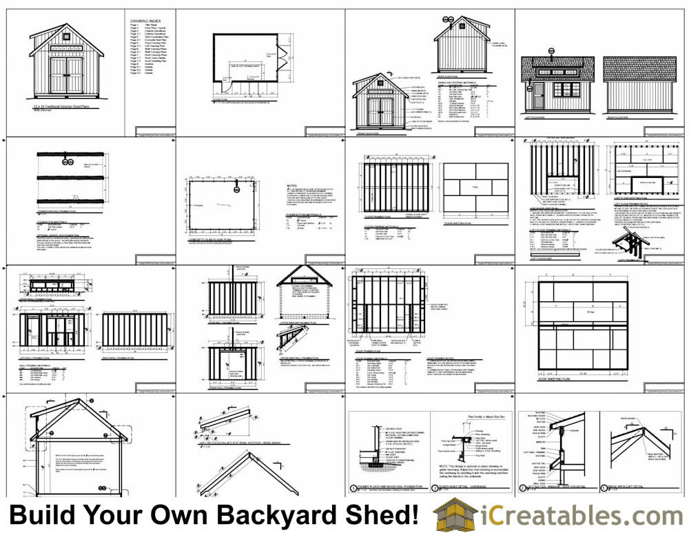 10x16 Traditional Victorian Style Storage Shed Plans