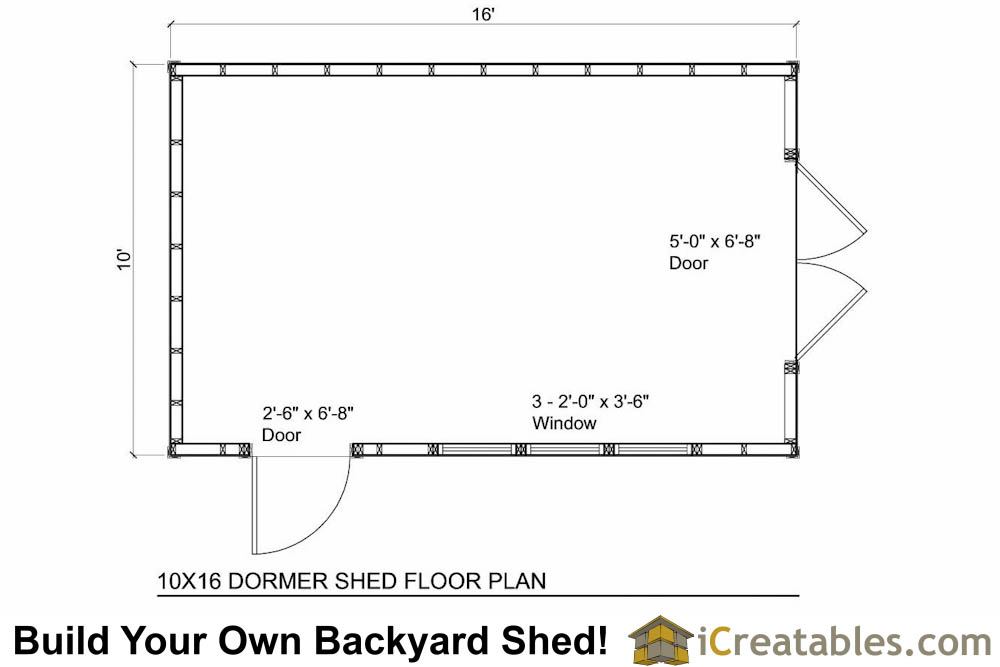 10x16 shed with dormer roof floor plans