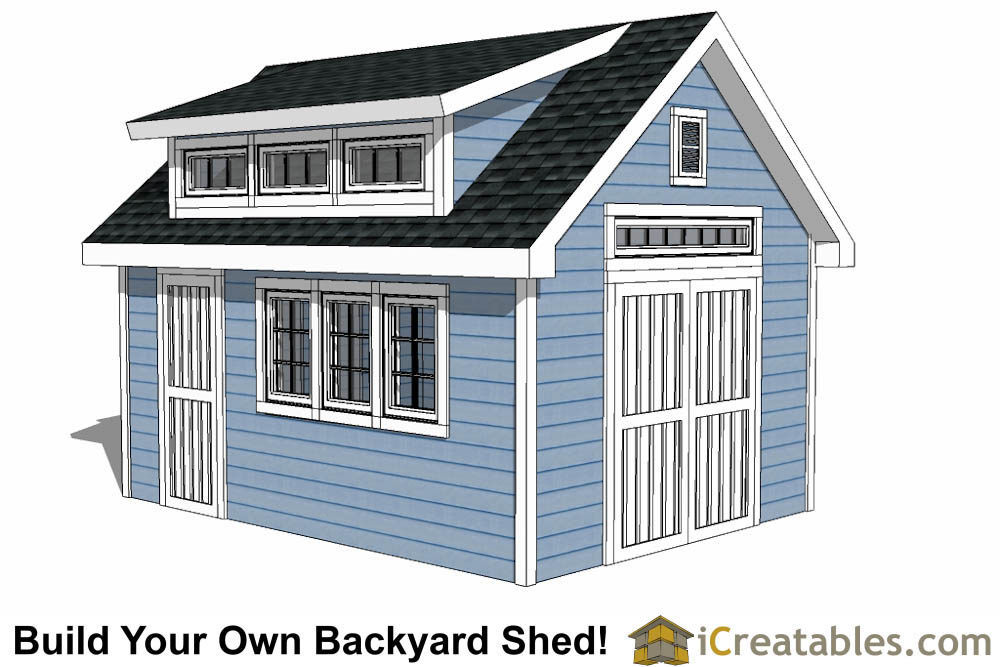 10x16 shed with dormer roof plans