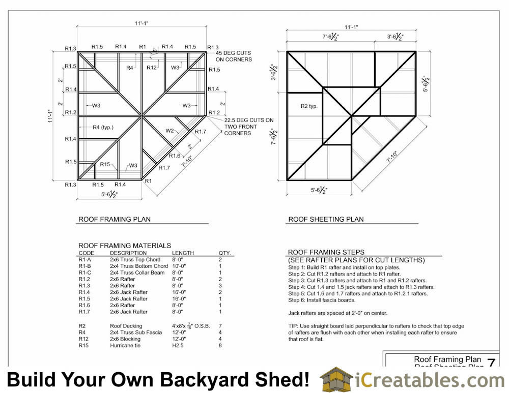 10x10 5 Sided Corner Shed Plans