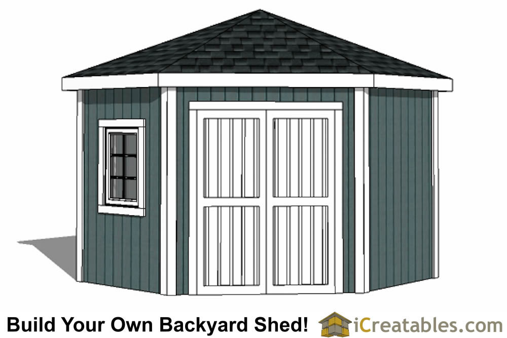 10x10 5 sided corner shed plans for Three sided shed plans