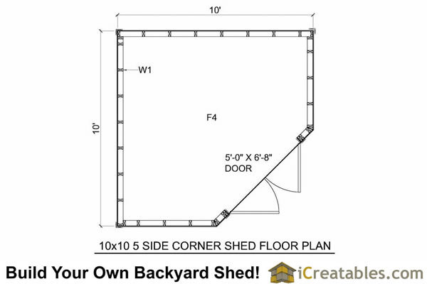 10x10 5 sided corner storage shed floor plans