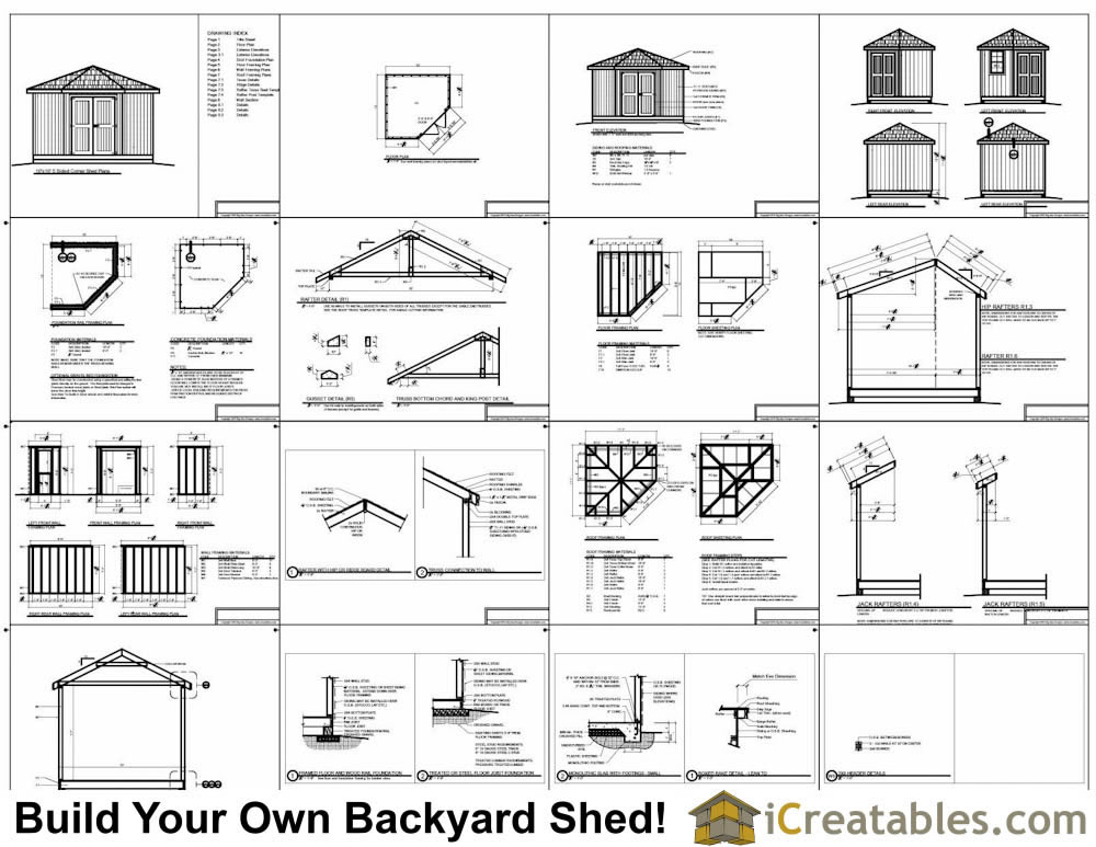 10x10 5 sided storage shed plans example