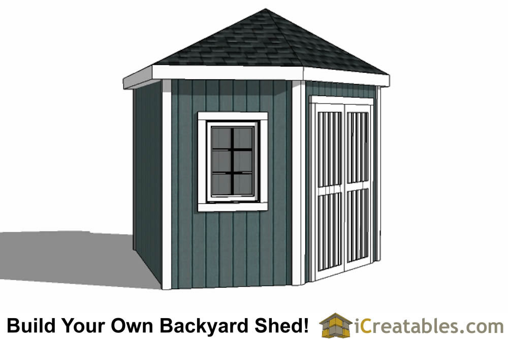 5 sided storage shed plans left elevation