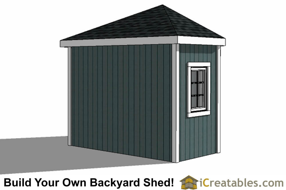 5 sided corner backyard shed rear view