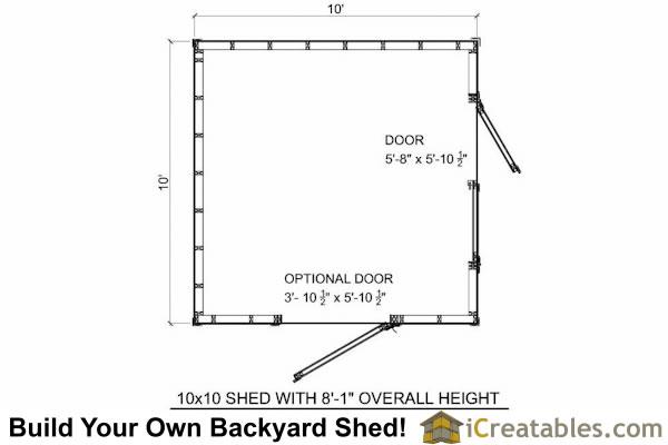 Storage Shed Floor Plans: 10x10 Short Shed Plans