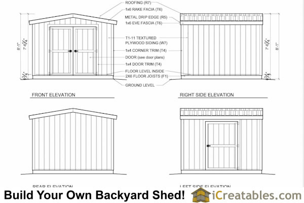 8x8 8 foot tall shed plan elevations