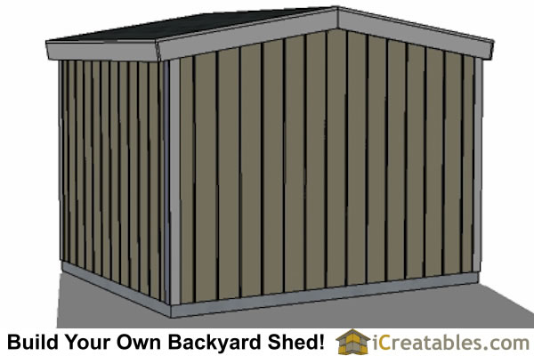 10x10 8 foot tall shed plans front