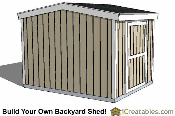8x8 8 foot tall shed plans side door rear