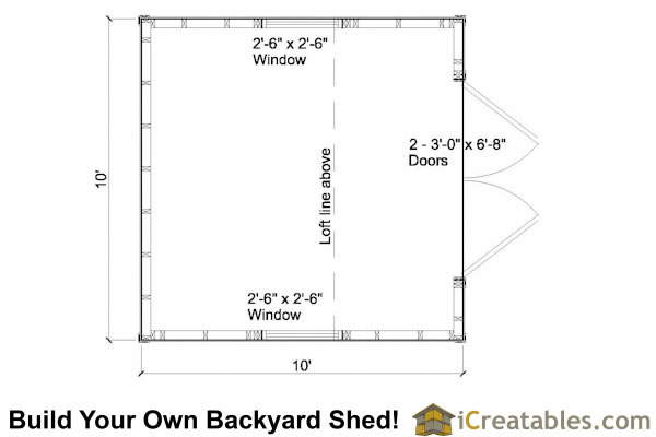10x10 shed floor plan