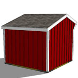 10x10 one stall horse barn rear