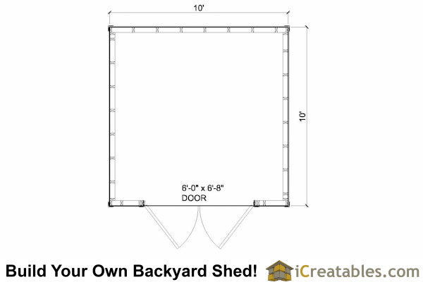 10x10 Lean to shed plans floor plan