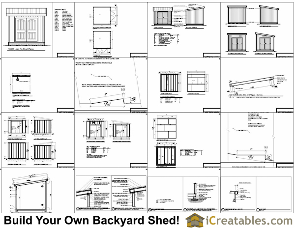 10x10 lean to shed plans example