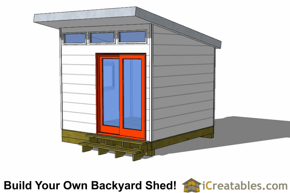 10x10 studio shed plans 10x10 office shed plans modern for Contemporary shed plans
