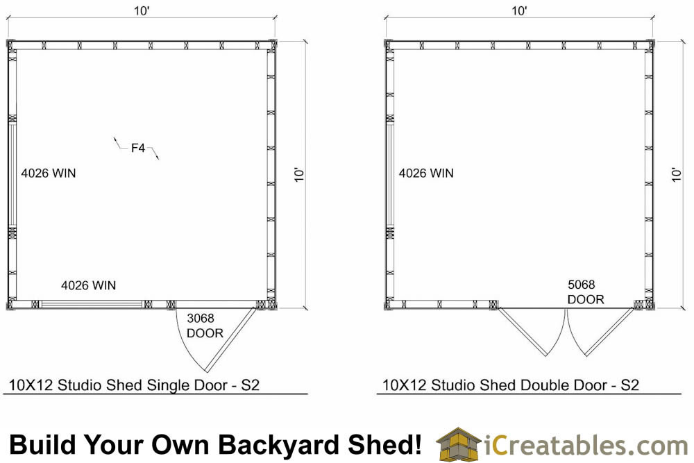 10x10 modern shed floor plan