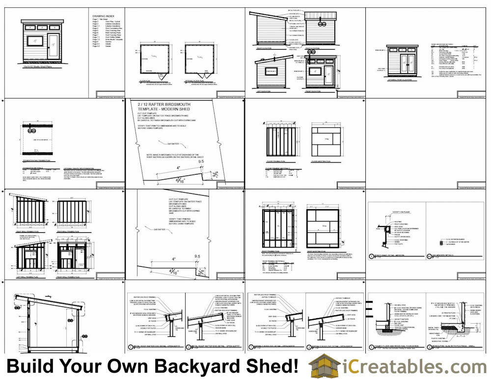 10x10 studio shed plans 10x10 office shed plans modern for Shed plans and material list