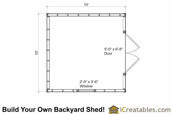 10x10 Traditional Victorian Style Storage Shed Floor Plan