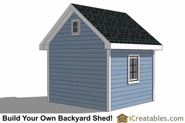 10x10 Traditional Victorian Style Storage Shed Plans right rear