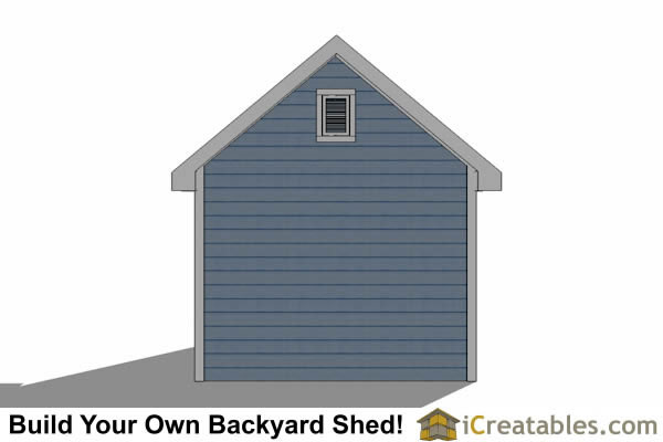 10x10 Traditional Victorian Style Storage Shed Plans rear elevation