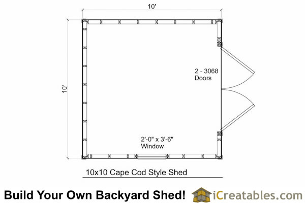 10x10 cape cod shed plans cape cod storage shed plans for Shed floor plans