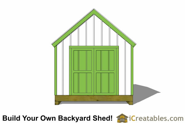 10x10 shed plan front
