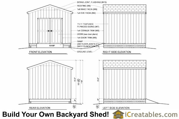 10x10 shed elevations