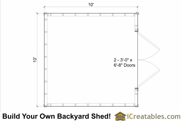 10x10 large shed floor plan