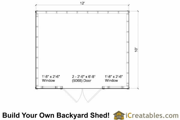 10x12 Colonial shed plan with large door floor plan