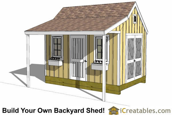10x12 colonial shed with porch plans icreatables sheds for Colonial shed plans