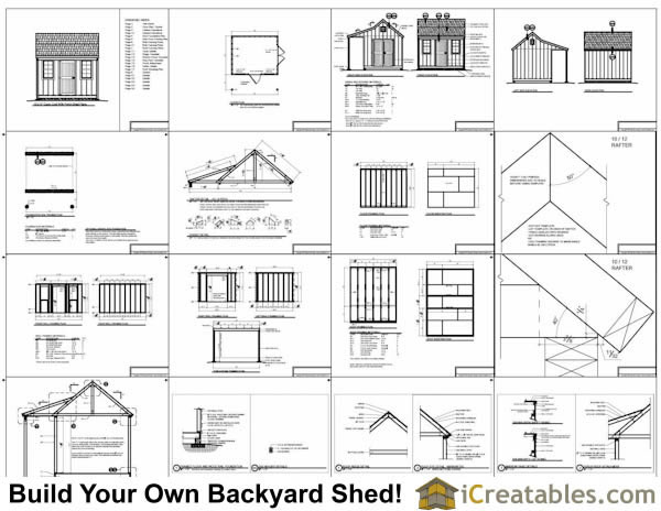 10x12 colonial shed with porch plans icreatables sheds for Shed plans and material list
