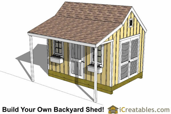 10x12 Colonial Shed With Porch Plans Icreatables Sheds