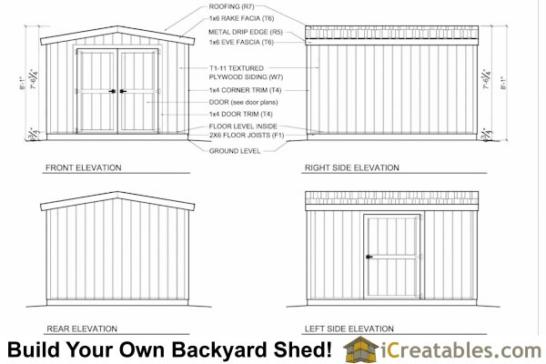 10x12 short shed plans elevations