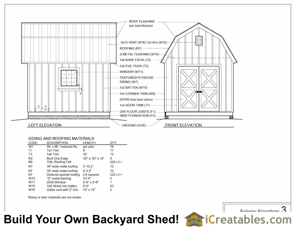 10x12 gambrel shed plans elevations