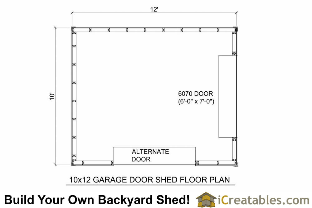 10x12 shed plans with garage door icreatables for 10x12 kitchen floor plans
