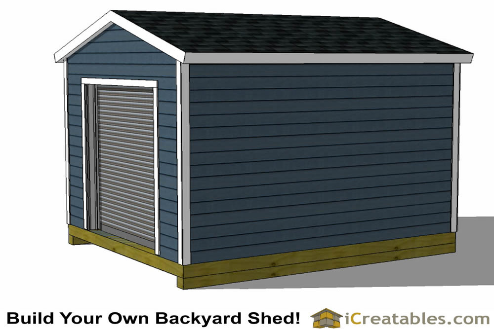 10x12 shed plans with garage door rear view