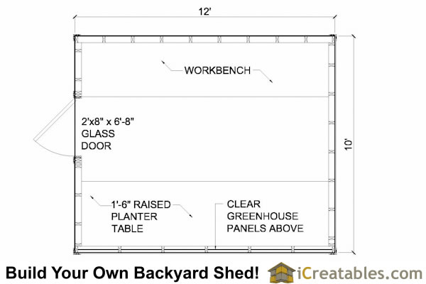 Wood greenhouse plans 10x12 greenhouse shed plans for Greenhouse floor plan