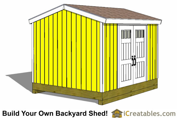 10x12 garden shed with door on side